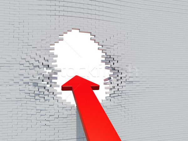 Wall crash arrow with white hole Stock photo © cherezoff