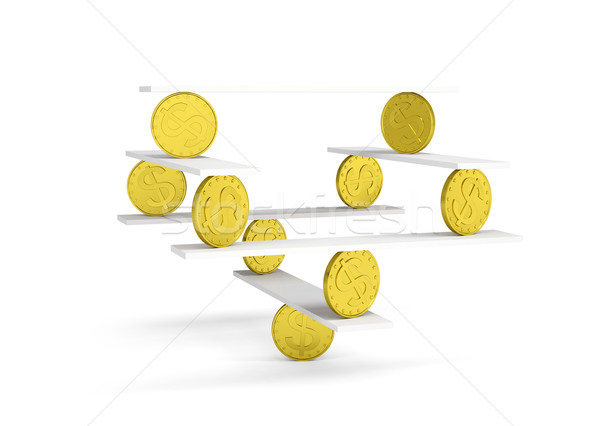 Financial balance with gold coins on white Stock photo © cherezoff