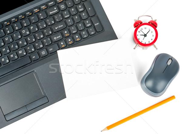 Dizüstü bilgisayar boş kart çalar saat yalıtılmış beyaz bilgisayar Stok fotoğraf © cherezoff
