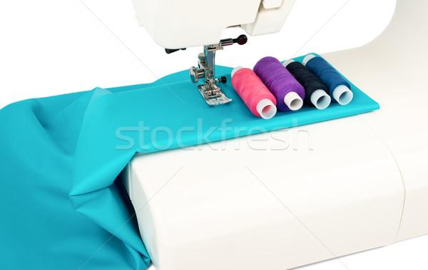 Dikiş makinesi kumaş beyaz moda Metal Stok fotoğraf © cherezoff