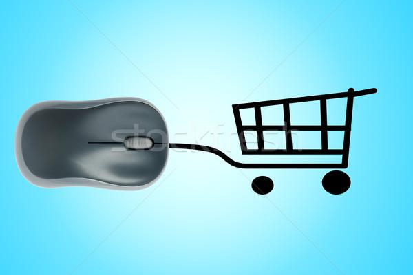 Bevásárlókocsi számítógép egér online vásárlás üzlet munka egér Stock fotó © cherezoff