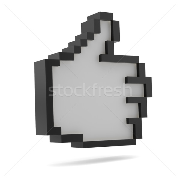 Thumbs Up. Black and white. Pixel style Stock photo © cherezoff