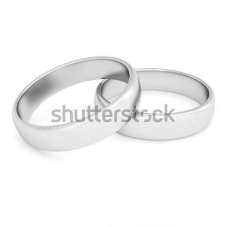 Kettő ezüst gyűrűk izolált render fehér Stock fotó © cherezoff