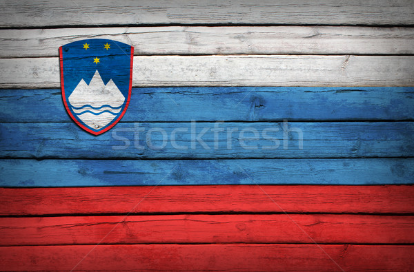 Slovenian flag painted on wooden boards Stock photo © cherezoff