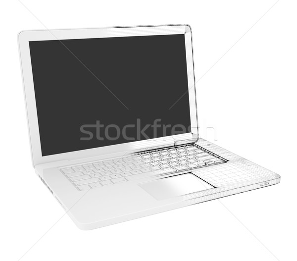 Half of the laptop - wire-frame Stock photo © cherezoff