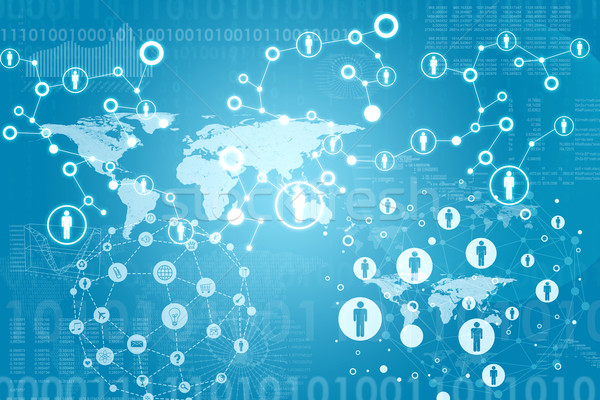 World map with contacts and figures Stock photo © cherezoff