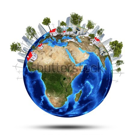 Earth, green grass, houses and water Stock photo © cherezoff