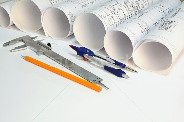 Drawing rolls and drawing tools composition Stock photo © cherezoff