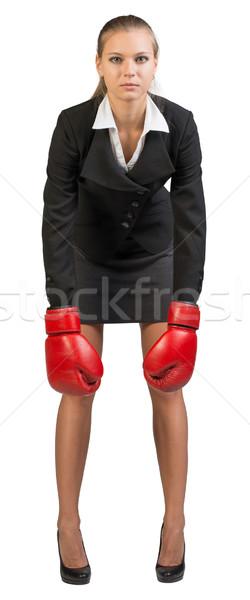 Сток-фото: деловая · женщина · боксерские · перчатки · вперед · рук