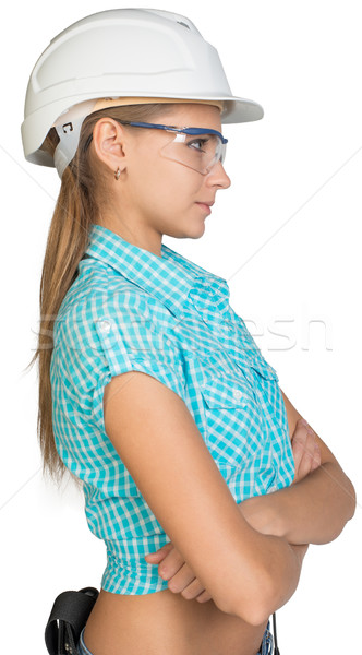 Woman in hard hat and protective glasses Stock photo © cherezoff