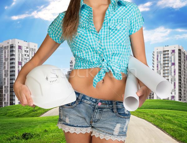 Femme casque papier mains vert Photo stock © cherezoff