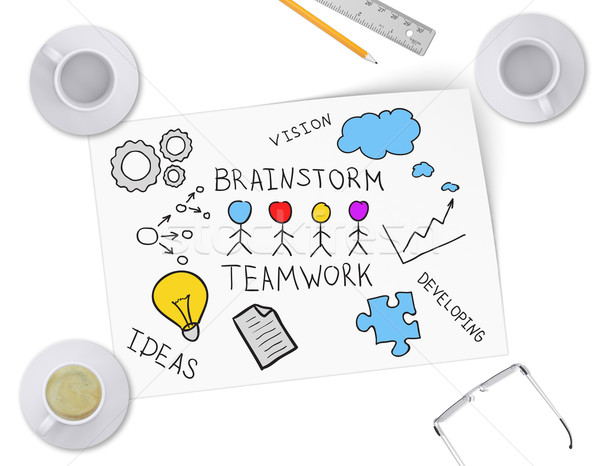 Brainstorming ideas for business project on sheet of paper Stock photo © cherezoff