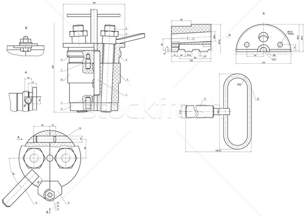 Expanded drawing of engineering elements  Stock photo © cherezoff