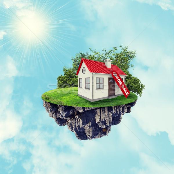 Casa blanca rojo techo venta signo isla Foto stock © cherezoff