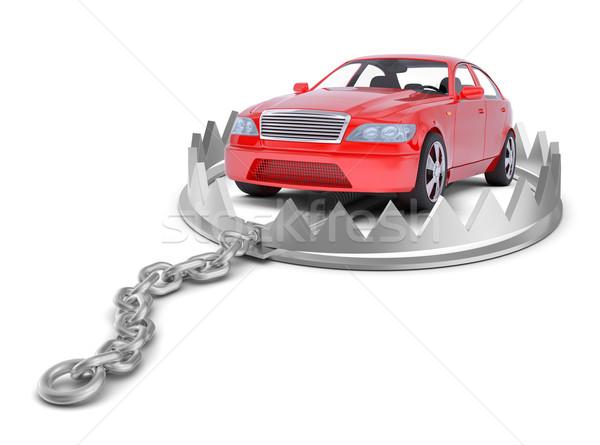 Carro tenha armadilha isolado branco Foto stock © cherezoff
