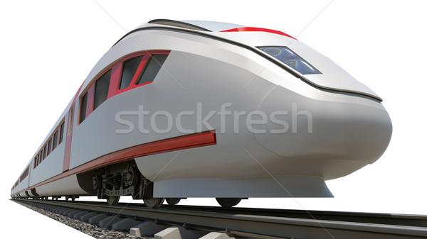 Longtemps train blanche inférieur vue Photo stock © cherezoff