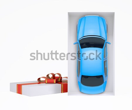 Blue car in gift box on white, top view Stock photo © cherezoff