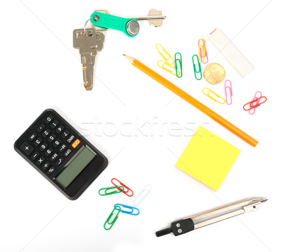 Stock fotó: Irodaszerek · fehér · kulcsok · izolált · háttér · számológép