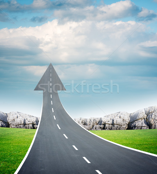 Auto-estrada estrada para cima seta ar fresco rodovia Foto stock © cherezoff