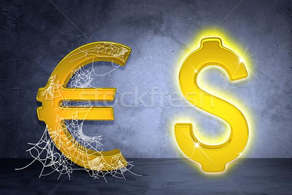 Złoty Dolar euro podpisania pajęczyna szary Zdjęcia stock © cherezoff