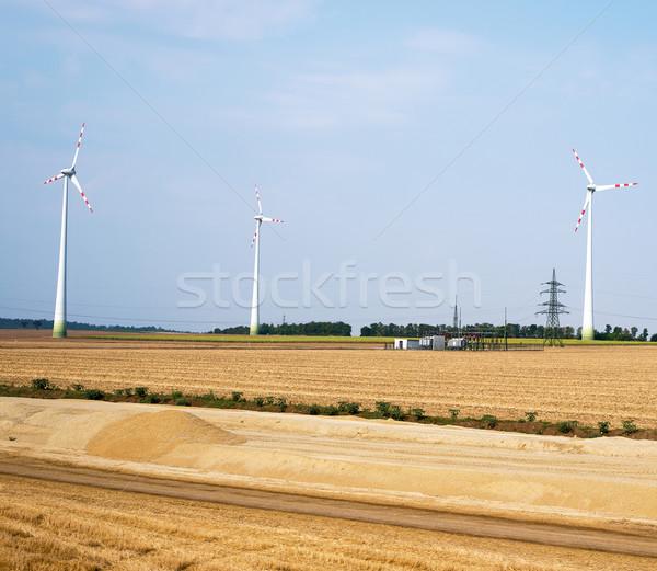 Photo stock: Vent · fermes · domaine · ciel · bleu · énergie