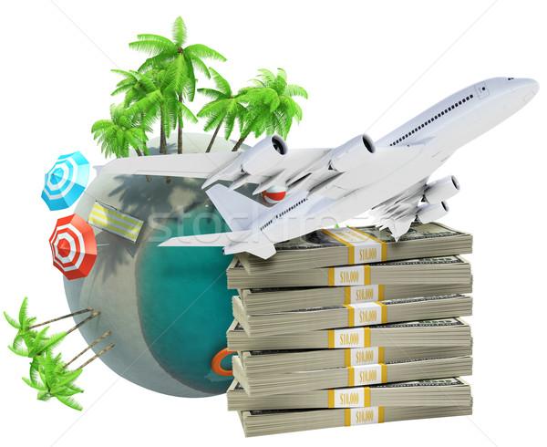 Aarde wereldbol jet cash geïsoleerd witte Stockfoto © cherezoff