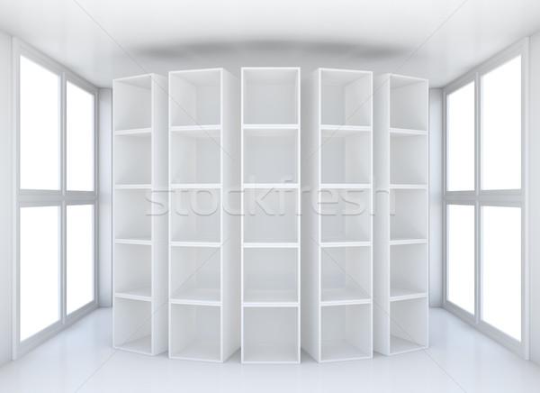 Foto stock: Blanco · limpio · sala · Windows · 3D