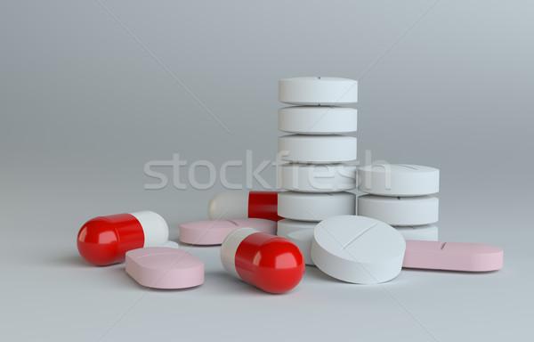 白 赤 錠剤 グレー 3D レンダリング ストックフォト © cherezoff