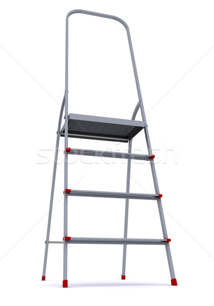 metal stepladder on a white background. 3d rendering Stock photo © cherezoff