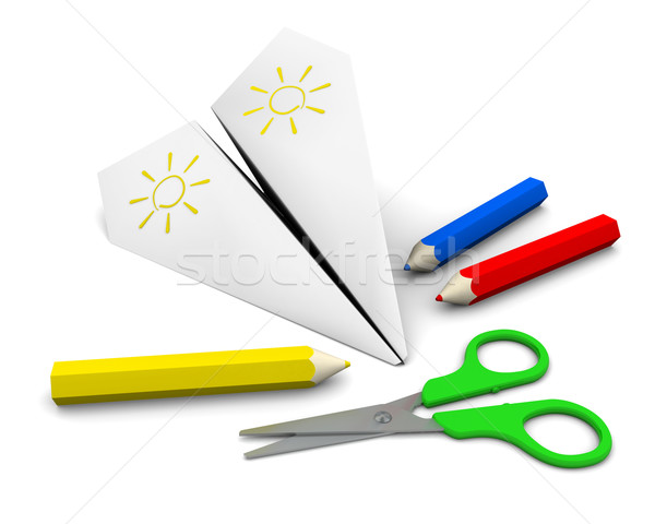 composition of paper airplane, pencils and scissors Stock photo © cherezoff