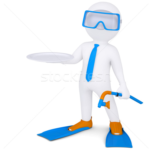 3d white man with flippers holds plate Stock photo © cherezoff