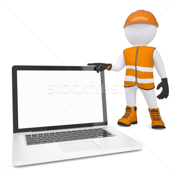 3d white man in overalls holding a laptop Stock photo © cherezoff