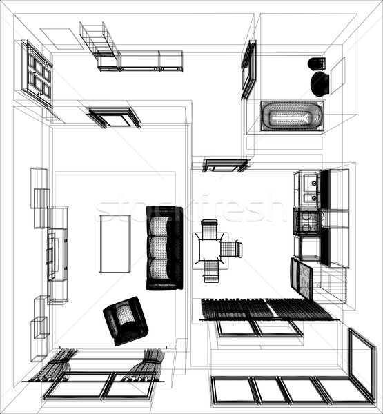 layout of the apartment Stock photo © cherezoff