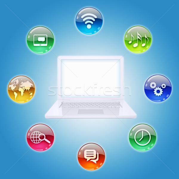 Laptop programa ícones software de computador negócio computador Foto stock © cherezoff