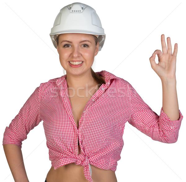 Mujer bueno gesto mirando Foto stock © cherezoff