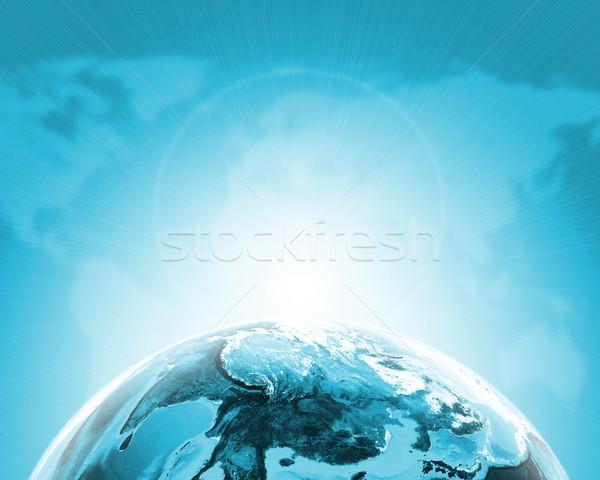 Zöld fél Föld földgömb kontinensek átlátszó Stock fotó © cherezoff