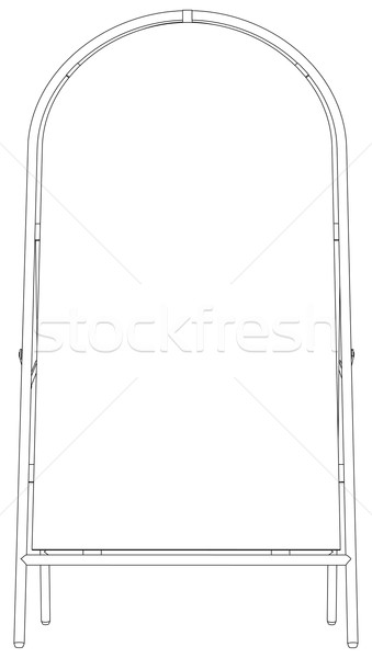 Sketch of wire-frame sidewalk sign. Front view. Vector illustration Stock photo © cherezoff
