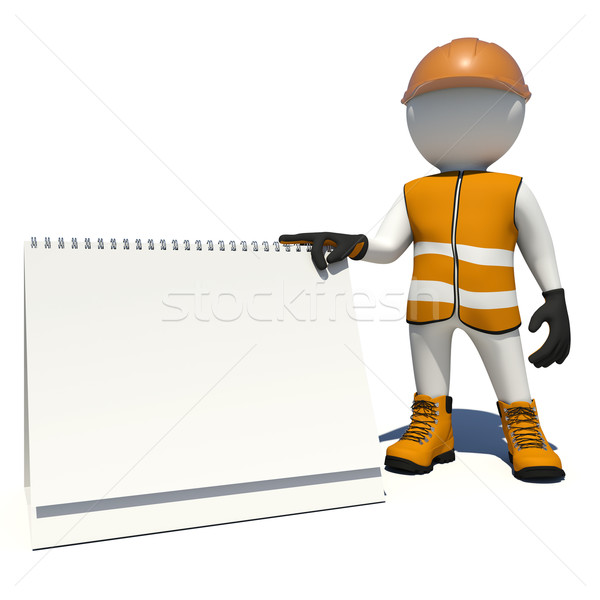 Worker in overalls holding empty loose-leaf calendar. Isolated Stock photo © cherezoff