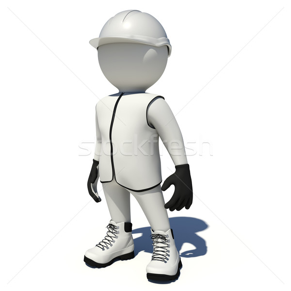 Worker in white overalls. Isolated Stock photo © cherezoff
