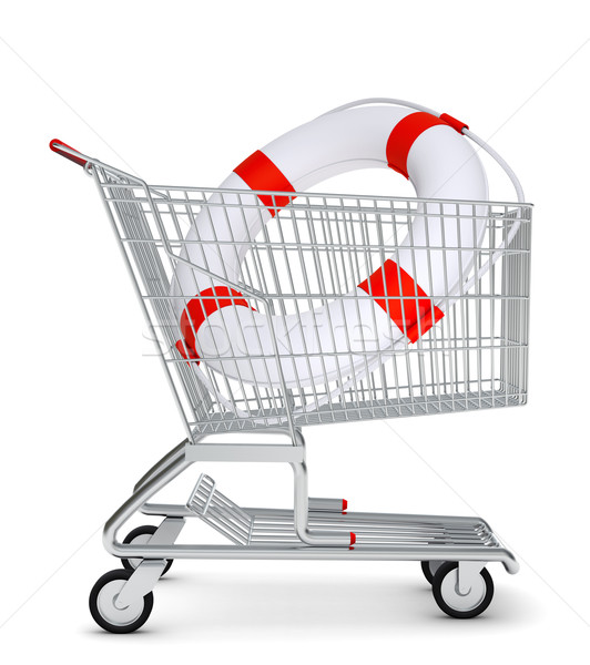 Lifebuoy in shopping cart Stock photo © cherezoff