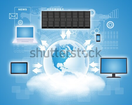 Set of gadgets on blue sky background Stock photo © cherezoff