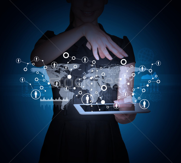 Businesslady with tablet and world map Stock photo © cherezoff