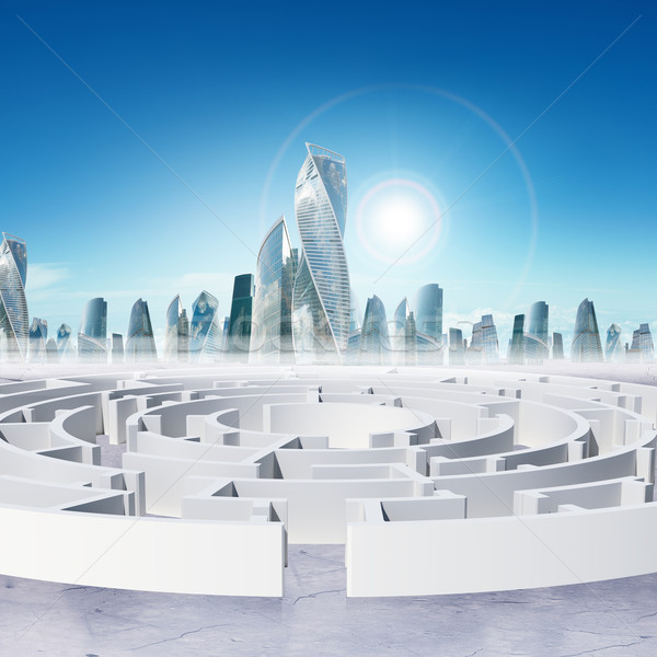 Business cityscape with labyrinth entry and sun Stock photo © cherezoff