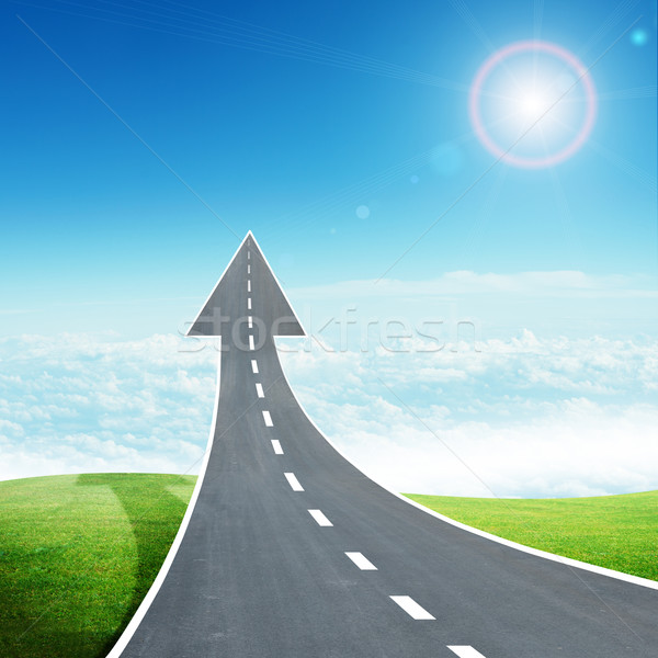 Stock photo: Freeway road going up as an arrow in sky