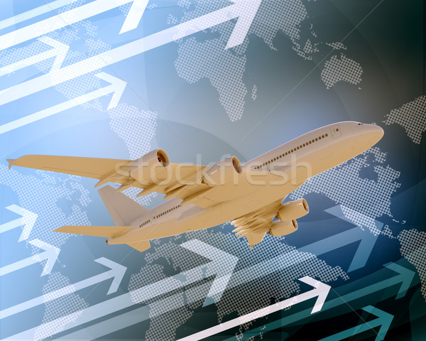 Jet with world map and arrows Stock photo © cherezoff