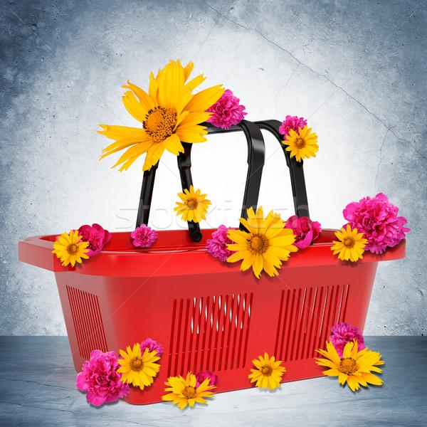 üres bevásárlókosár virágok szürke fal 3D Stock fotó © cherezoff