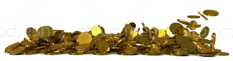 Falling gold dollar coins. 3D rendering Stock photo © cherezoff