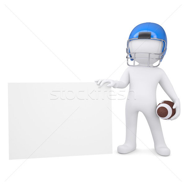 3d man in a football helmet holds blank card Stock photo © cherezoff