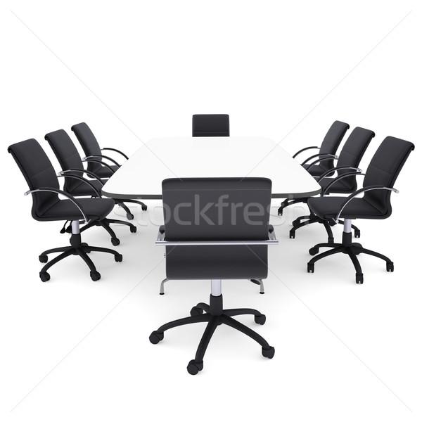 Stockfoto: Kantoor · stoelen · tabel · geïsoleerd · geven · witte