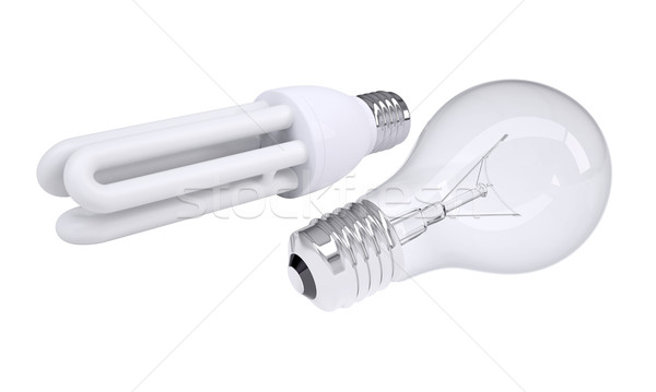 Plain and energy-saving light bulbs Stock photo © cherezoff